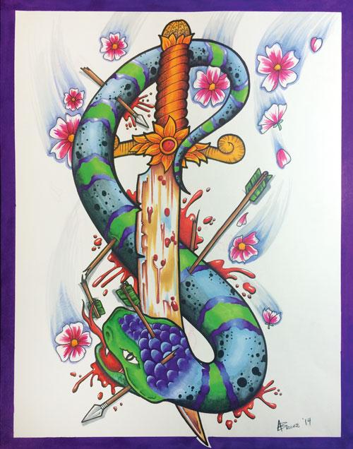 11″ X 14″ Snake n' Dagger Print